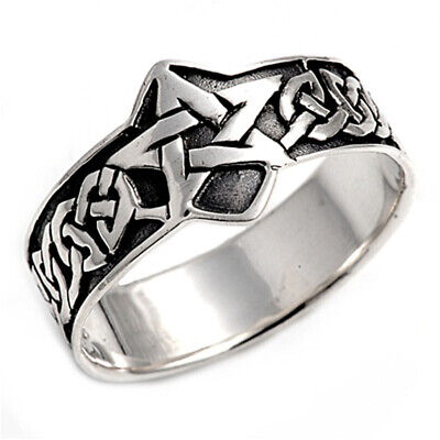 Sterling Silver Men's Celtic Star Ring Polished Pure 925 Band 15mm Sizes 8-15