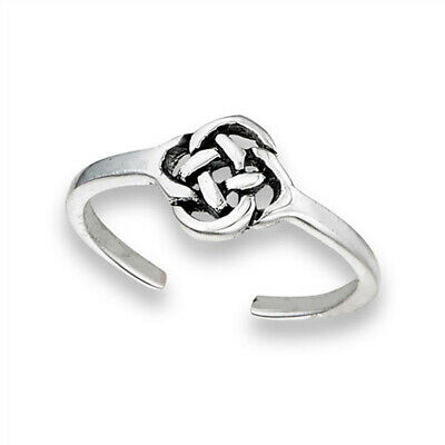 Knot Celtic Weave Sterling Silver Tangled Twisted Endless Braded Toe Ring Band
