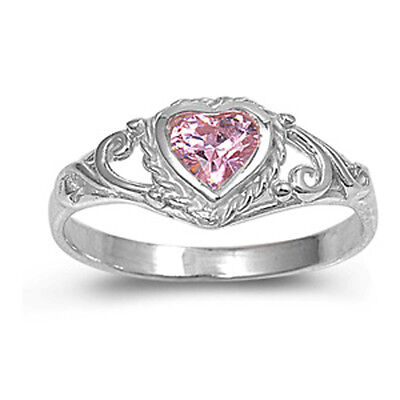 Sterling Silver Elegant Pink Heart CZ Solitaire Ring Solid 925 7mm Sizes 1-5