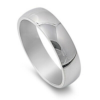 Stainless Steel Band Polished Plain Wedding Ring 316L Surgical 6mm Sizes 5-15