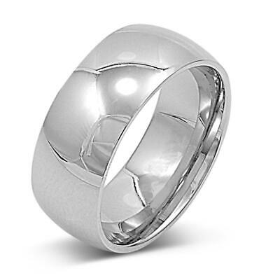Stainless Steel Band Polished Plain Wedding Ring 316L Surgical 9mm Sizes 7-15