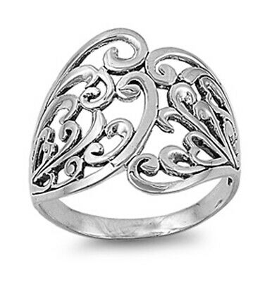Sterling Silver Woman's Celtic Fashion Ring Beautiful 925 Band 21mm Sizes 4-13