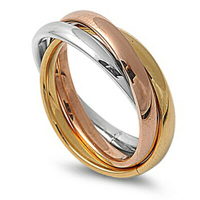 Womans Mens Gold Tone Triple Ring Polished Stainless Steel Band 3mm Sizes 3-12