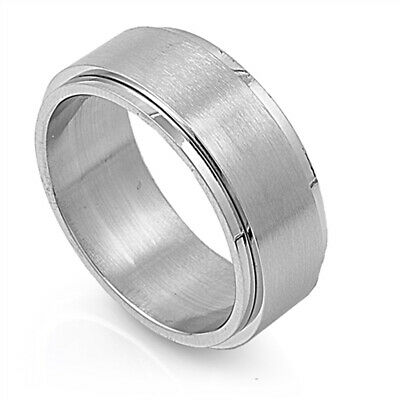 Men's Brushed Spinner Wedding Band Polished Ring 316L Stainless Steel Sizes 7-14