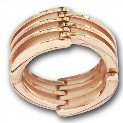 Rose Gold-Tone Hinge Joint Wedding Ring New Stainless Steel Wide Band Sizes 7-12