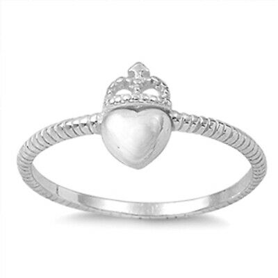 Celtic Heart Crown Beautiful Ring New .925 Sterling Silver Rope Band Sizes 4-10