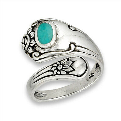 Open Turquoise Unique Vintage Spoon Ring Sterling Silver Thumb Band Sizes 6-9