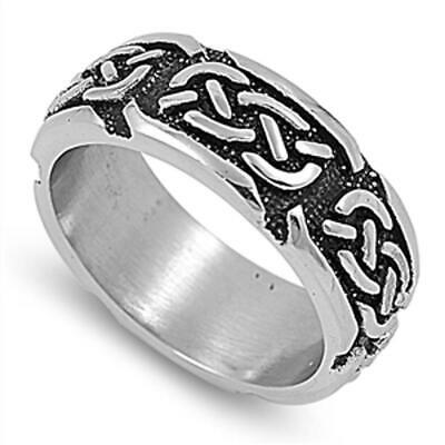 Celtic Infinity Knot Wedding Ring New 316L Stainless Steel Men's Band Sizes 8-15