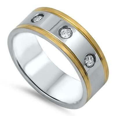 Gold Tone Clear CZ Men's Wedding Ring New 316L Stainless Steel Band Sizes 7-14