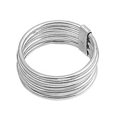 Sterling Silver Womans Mens Multi Fashion Ring Polished 925 Band 9mm Sizes 6-14