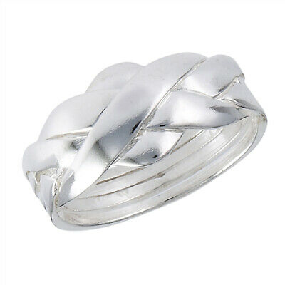 Puzzle Criss Cross Knot Ring New 925 Sterling Silver High Polish Band Sizes 6-12