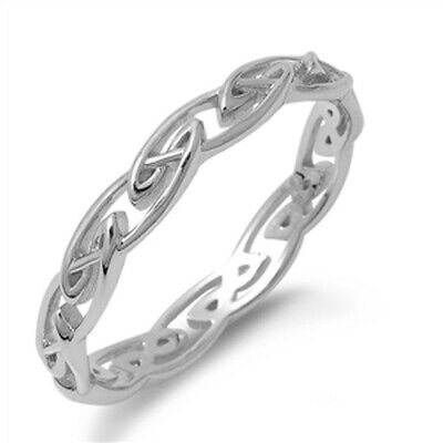 Celtic Eternity Infinity Knot Ring New .925 Sterling Silver Band Sizes 4-11