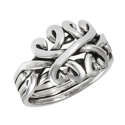 Puzzle Weave Knot Criss Cross Fun Ring New .925 Sterling Silver Band Sizes 6-10