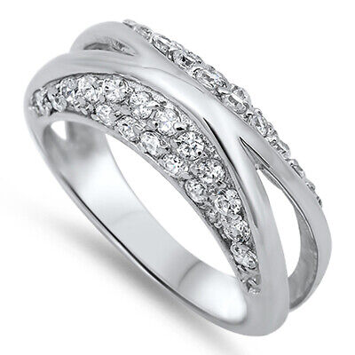 Crisscross X Clear CZ Cluster Promise Ring .925 Sterling Silver Band Sizes 4-10