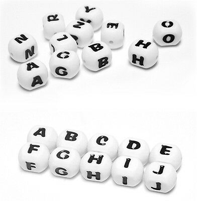 5x12mm DIY Letter Safe Silicone Teething Beads For Baby Teether Pacifier cube