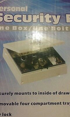 Pm Company Steel Personal Cash/Security Box w/4 Compartments Key Lock Pebble