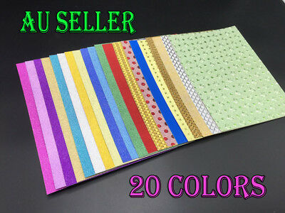 5X A4 Glitter Cardstock Craft Paper 20 Colors Scrapbooking Card Making Craft