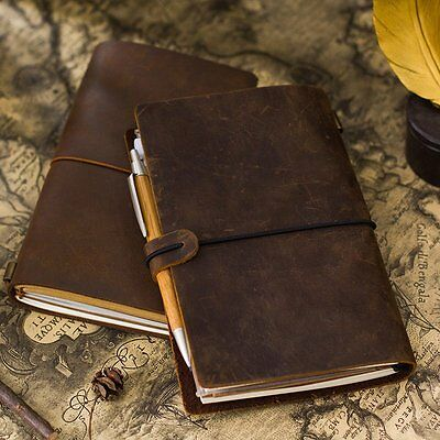 Dark Brown Genuine Cow Leather Cover Traveler's Notebook Diary Journal Vintage