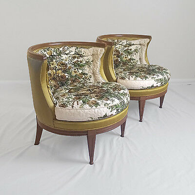 2 HOLLYWOOD REGENCY barrel back accent chairs mid century modern lounge slipper