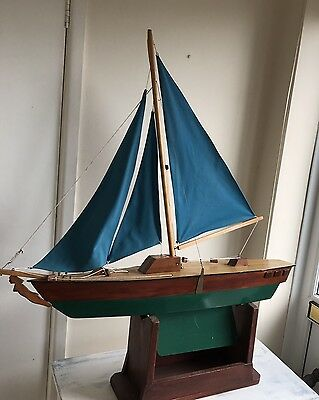 Large Vintage Wooden Pond Yacht 3 Sail Boat Weighted Keel Mermaid