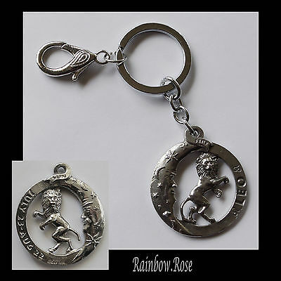 ZODIAC Keyring Pewter LEO Jul 23 - Aug 22 (40mm) Star Sign double side Key Chain