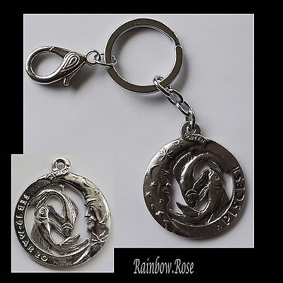ZODIAC Keyring Pewter PISCES Feb 19 - Mar 20 (40mm) Star Sign Key Chain