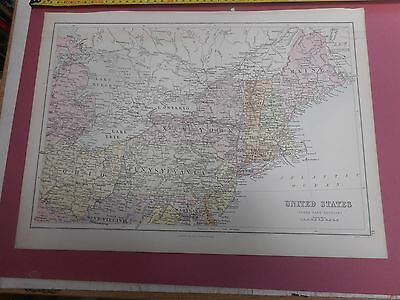 100% Original United States  North Eastern  Map By Black C1880/s Vgc Low Postage
