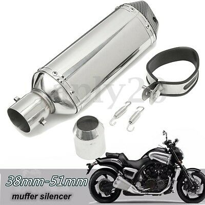 38-51mm Stainless Pipe Muffler Exhaust w/ Silencer  Motorcycle Dirt Street Bike