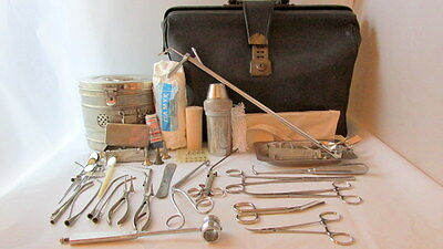 Antique Vtg Old Doctor's Medical Bag with Instruments & tools