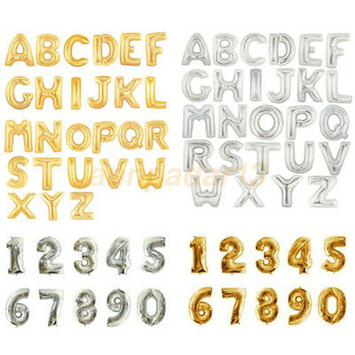 """16"""" Letter & Number Foil Balloons Birthday Wedding Party Decor Gold Silver"""