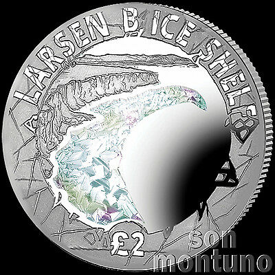 LARSEN B ICE SHELF COLLAPSE Sterling Silver Proof Hologram Coin POBJOY MINT 2017
