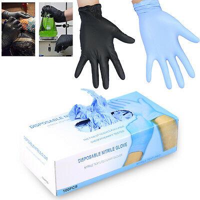 100× Latex Nitrile Jetable Gants de Tatouage Piercing Mechanic Medical Bleu/Noir