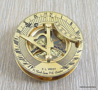 "3"" Antique Nautical Maritime West London Brass Sundial Compass Nautical Decor"