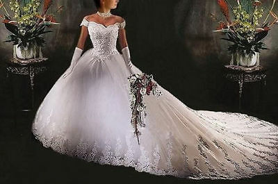 New White lace Bridal Gown Wedding dress Stock Size 6 8 10 12 14 16 +++