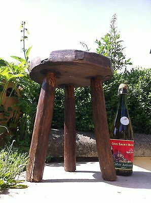 ANTIQUE French OAK Milking Stool 3 Legs Rustic Charming WOODEN