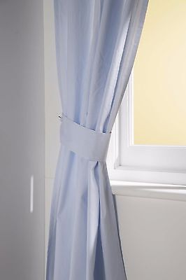 BNIP pale blue and white pinstripe tab top full length cotton nursery curtains