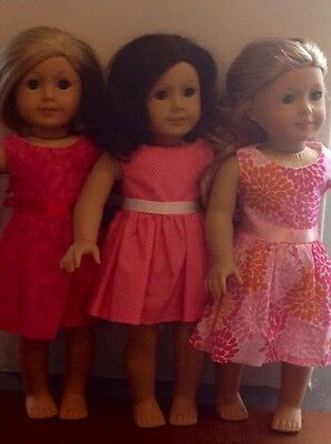 """Fits American Girl Lot 18"""" Doll Dolls Clothes *** 3 Dresses ***"""