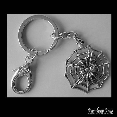 Keyring #340 Pewter Spider on Web (38mm wide) GOTH Keychain Key Ring Chain