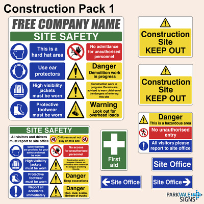 Construction / Building Site Safety Sign Complete Pack 1 / Free Company Name