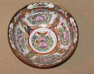 1960's Hand Floral Painted Porcelain Bowl Made In China w/ hallmark