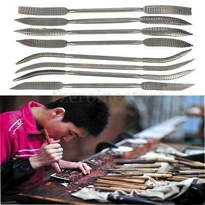 8Pcs Crafts Riffler Rifler Files Set Wood Rasp Double Ended Coarse + Pouch 200mm
