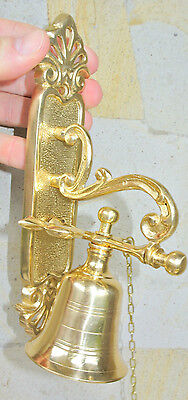 """Front Door Bell pull chain solid POLISHED brass vintage old style 8.1/2 """" hang"""