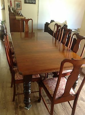 Antique Blackwood And Kauri Extendable Dining Setting