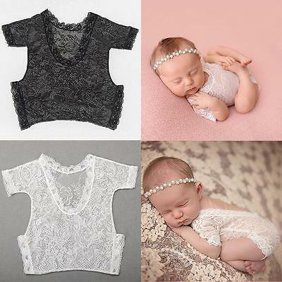 Newborn Baby Girl Lace Floral Romper Bodysuit Photo Props Photography Costume LD