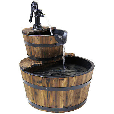 Charles Bentley Outdoor Two Tier Wooden Barrel Cascading Water Feature Fountain