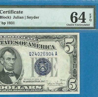 $5.00 1934-C Wide Silver Certificate Blue Seal Pmg Certified  Choice  New 64Epq