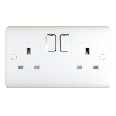Pack of 10 - White Plastic 13a Double Plug Sockets Trade Pack