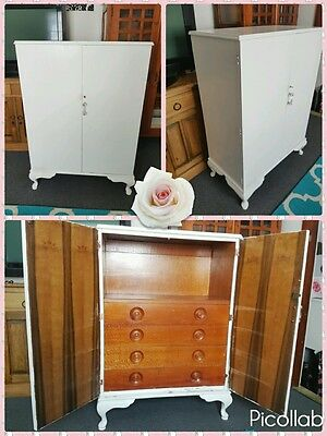 Shabby chic french provincial white antique cabinet cupboard wardrobe