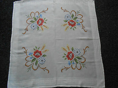 Beautiful Cotton Tablecloth Cross Stitched With Colourful Flowers