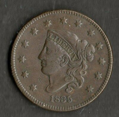 USA Large Size Copper One Cent 1835 GVF Small 8 and Stars